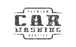 Car washing badge with shabby texture. Graphic design for t-shirt. Black print on white background Stock Photo