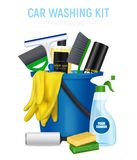 Car Washing Kit Realistic Composition Royalty Free Stock Images