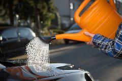 Car washing on the street Stock Images