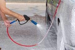 Car washing of water with soap at the high pressure royalty free stock images