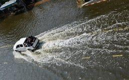 Car in water. BANGKOK - NOV 10: worst flood disasters in 50 years hits Bangkok streets. Bangkok flooding, 10 November 2011 Stock Photo