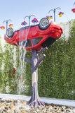 Car waterfall at the Miracle Garden in Dubai Royalty Free Stock Photo