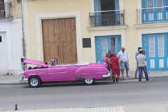 Car By The Waterfront in Havana, Cuba Stock Photo