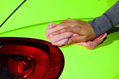 Car with wax and polish cloth. Stock Images