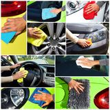 Car with wax and polish cloth. Hand with cloth washing a car. Waxing and polishing collage Stock Images