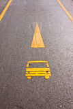 Car way symbol on the ground Royalty Free Stock Photo