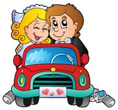 Car with wedding couple. Illustration Stock Images