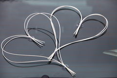 Car wedding decoration - two hearts Royalty Free Stock Image