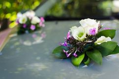 Car with wedding decorations. Of flowers Stock Photography