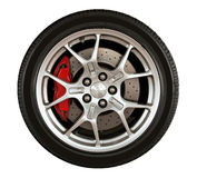 Car wheel. Sport car wheel and tire isolated stock photo