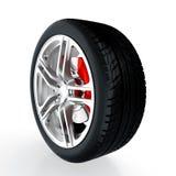 Car wheel. 3D render of car wheel on white background vector illustration