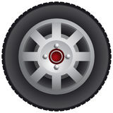 Car wheel. With alloy rim and black tire vector illustration