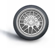 Car wheel against white background Royalty Free Stock Photo