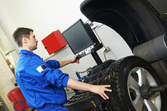 Car wheel alignment and balancing royalty free stock photography