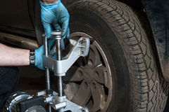 Car wheel alignment details Royalty Free Stock Images