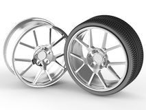 Car wheel and alloy rim. Sport wheel and steel alloy car rim Royalty Free Stock Photos