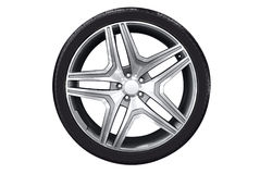 Car wheel with aluminum rim Stock Photo