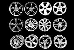 Car wheel aluminum rims isolated Stock Photo