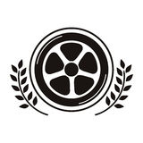 Car wheel award in monochrome with olive branch Royalty Free Stock Photo