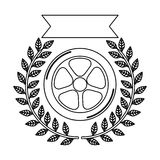 Car wheel award silhouette in monochrome with olive branch and ribbon Stock Photo