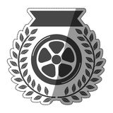 Car wheel award sticker in monochrome with olive branch and ribbon with half shade Royalty Free Stock Photo
