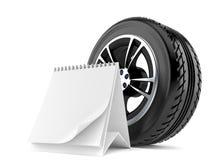 Car wheel with blank calendar Stock Image