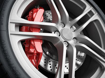 Car wheel and brake system. Closeup. Royalty Free Stock Images