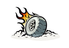 Car wheel with burning fire. Vector illustration for Tattoo. White background. Speed racing. Automobile part. Extreme sport Stock Photos