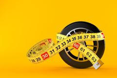 Car wheel with centimeter. Isolated on orange background. 3d illustration vector illustration
