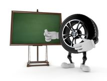 Car wheel character with blank blackboard. Isolated on white background. 3d illustration Royalty Free Stock Photos