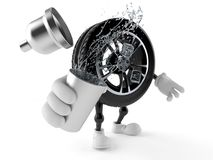 Car wheel character holding cocktail shaker. Isolated on white background. 3d illustration Royalty Free Stock Photography