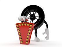 Car wheel character pushing quiz button Stock Photos