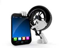 Car wheel character with smart phone. Isolated on white background Stock Photos