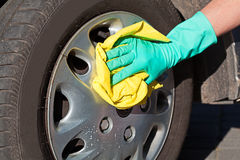 Car wheel cleaning Royalty Free Stock Photography