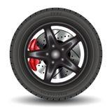 Car wheel. Closeup of car wheel on white. Vector illustration stock illustration