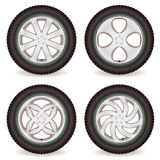 Car wheel collection Royalty Free Stock Photography