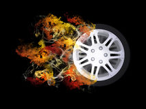 Car wheel in the colored smoke Stock Image