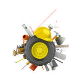 Car wheel with construction tools and materials. On a white background.3D illustration Royalty Free Stock Images