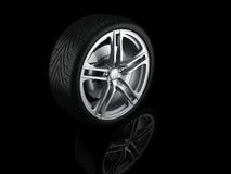 Car Wheel 3d. Car wheel on black background. 3d Illustration stock illustration