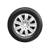 Car wheel with decorative plastic cover isolated Royalty Free Stock Photography