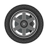 Car wheel with disc brake Royalty Free Stock Images