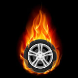 Car Wheel on Fire Stock Image