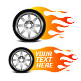 Car wheel with fire flame, car related sign. Vector illustration Stock Photography