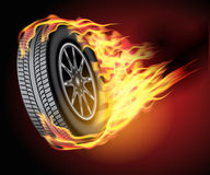 Car wheel in fire. Racing hot wheels. Burning wheel tire  on black background. Vector illustration Royalty Free Stock Images