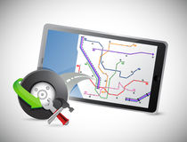 Car wheel and gps tablet Royalty Free Stock Photo