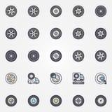 Car wheel icons set Stock Photography