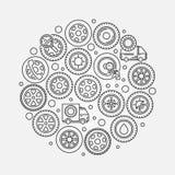 Car wheel illustration Stock Photos