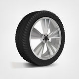 Car Wheel Image. Car wheel in three-quarters. Beautiful realistic illustration isolated on a white background Stock Photography