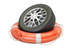 Car wheel with lifebelt, service and repair concept. 3D renderin Royalty Free Stock Photography