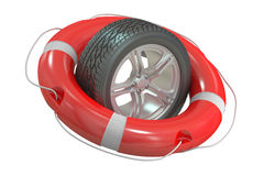 Car wheel with lifebuoy Royalty Free Stock Photography